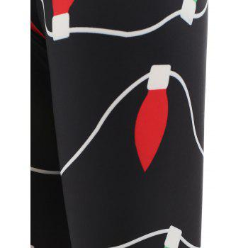 Xmas Lights Print Bodycon Leggings - BLACK XL