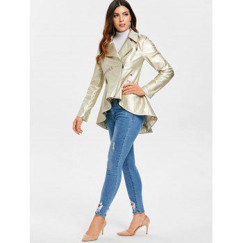 Zipper Faux Leather Asymmetric Jacket - BLONDE L