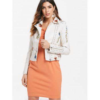Embroidery Rivet Faux Leather Jacket - WARM WHITE L