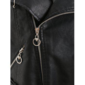 Zip Up Faux Leather Belted Jacket - BLACK L