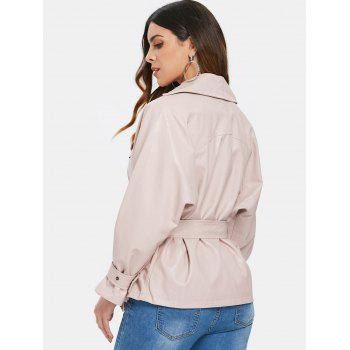 Faux Leather Belted Biker Jacket - PINK BUBBLEGUM L