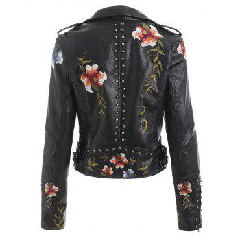 Embroidery Rivet Faux Leather Jacket - BLACK L