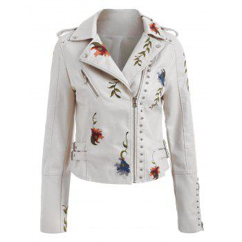 Embroidery Rivet Faux Leather Jacket