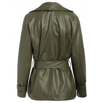 Faux Leather Belted Biker Jacket - ARMY GREEN XL