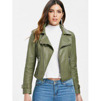 Zip Up Faux Leather Belted Jacket - ARMY GREEN L