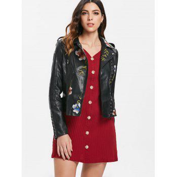 Embroidery Rivet Faux Leather Jacket - BLACK XL