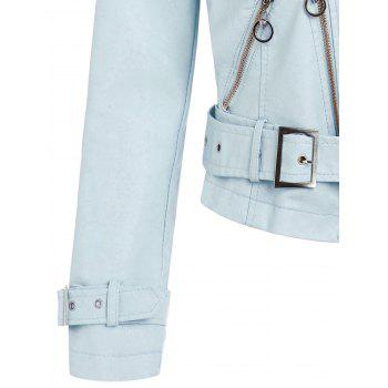 Zip Up Faux Leather Belted Jacket - BABY BLUE M