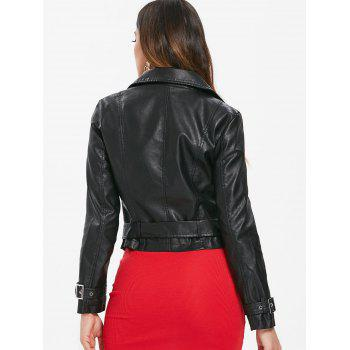 Zip Up Faux Leather Belted Jacket - BLACK M