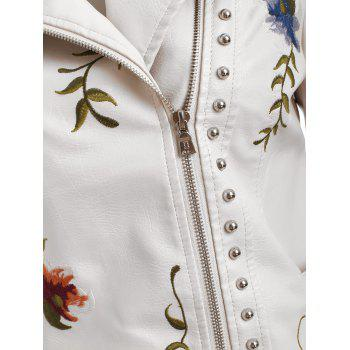 Embroidery Rivet Faux Leather Jacket - WARM WHITE M