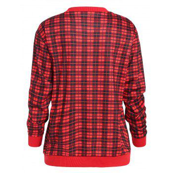 Cat Snowflake Plaid Christmas Sweatshirt - RED L