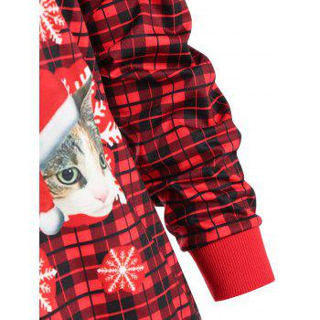 Cat Snowflake Plaid Christmas Sweatshirt - RED S