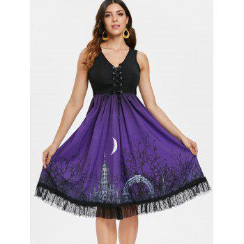 Lace Up Halloween Print Flare Dress - BLACK 2XL