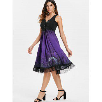 Lace Up Halloween Print Flare Dress - BLACK S