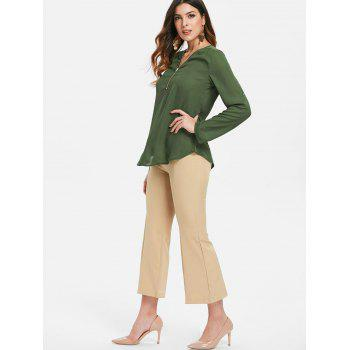 Half Zipper Long Sleeve Blouse - MEDIUM FOREST GREEN L