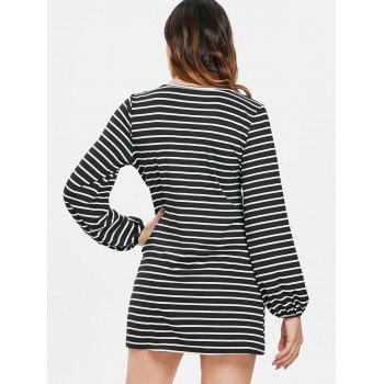 Long Sleeve Tie Waist Stripe Dress - BLACK M