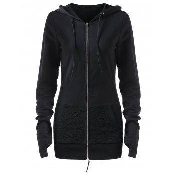 Lace Up Back Zip Up Hoodie - BLACK XL