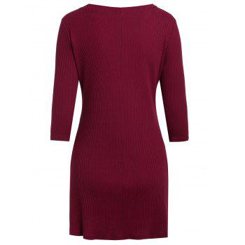 Fixed Button Up Short Knitted Dress - RED WINE L