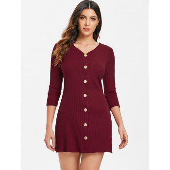 Fixed Button Up Short Knitted Dress - RED WINE XL