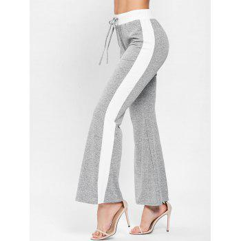Color Trim Sportive Bell Bottom Pants - LIGHT GRAY S