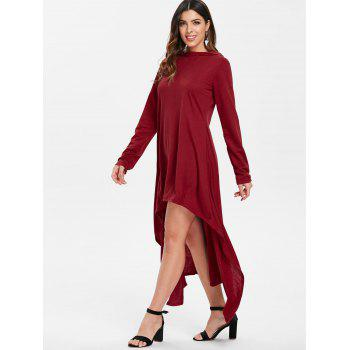 High Low Hooded Dress with Long Sleeves - DEEP RED 2XL