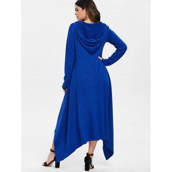 High Low Hooded Dress with Long Sleeves - BLUE 2XL