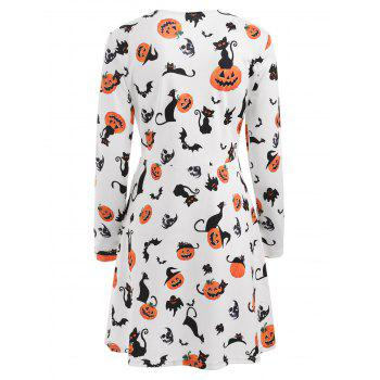 Halloween Pumpkins Print High Waist Dress - MILK WHITE XL