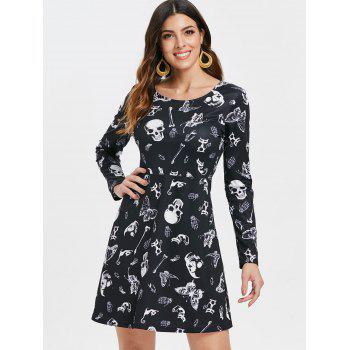 Halloween Skulls Butterflies Print High Waist Dress - BLACK L