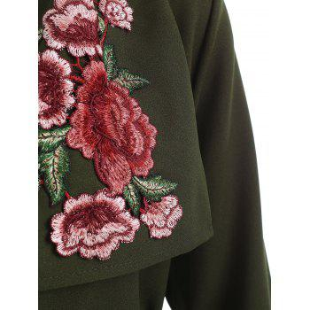Floral Embroidery Belted Duster Coat - DARK FOREST GREEN L