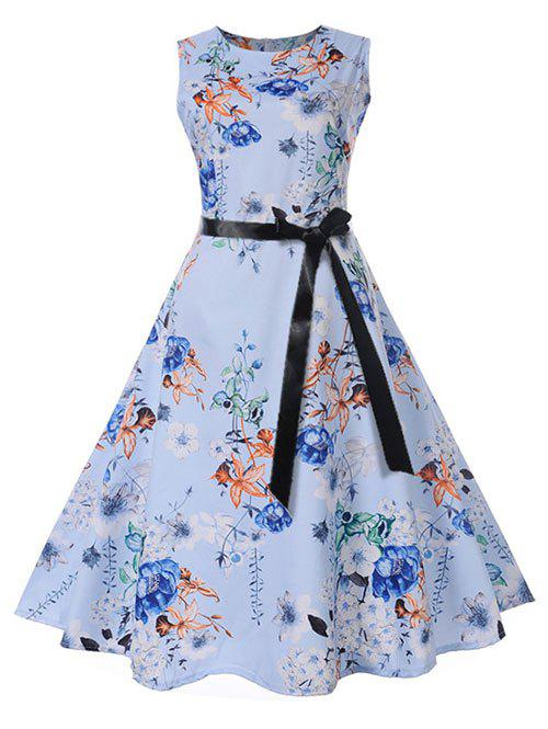 Vintage Floral Print Pin Up Dress - BABY BLUE XL