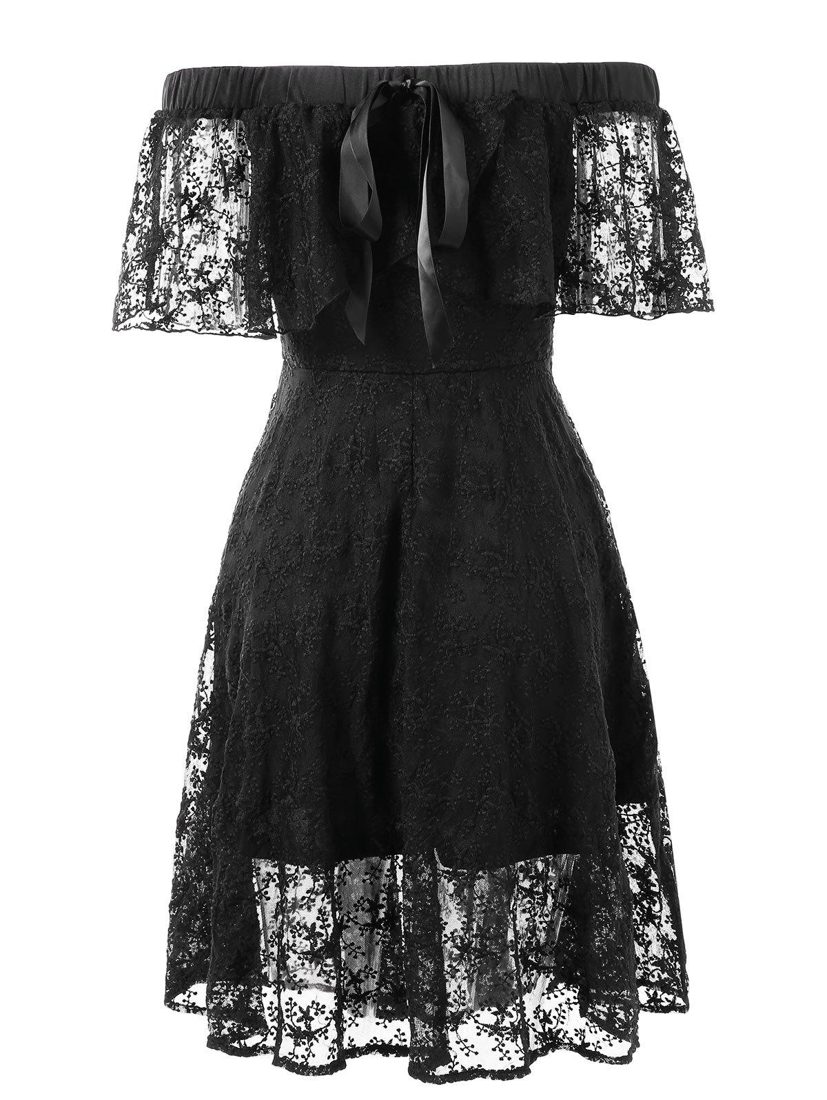 2018 Bare Shoulder Flounce Lace Dress BLACK L In Lace Dresses Online ...