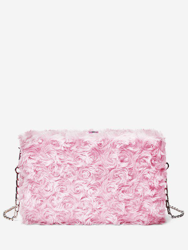 Solid Color Faux Fur Chain Crossbody Bag - LIGHT PINK