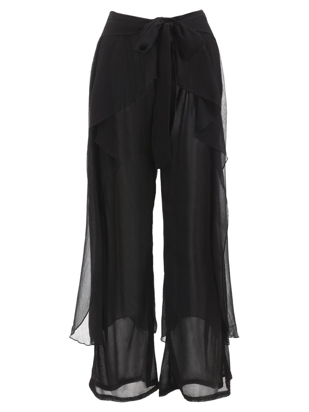 Flounce Panel Wide Leg Pants - BLACK L