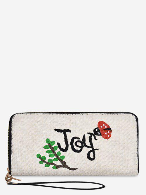 Zip Around Straw Embroidery Plant Wallet