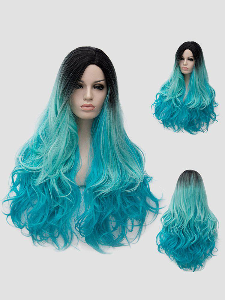 Halloween Christams Party Long Side Parting Wavy Synthetic Wig - multicolor