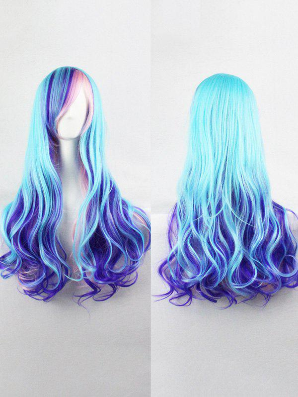 Long Colorful Inclined Bang Wavy Lolita Synthetic Wig - multicolor