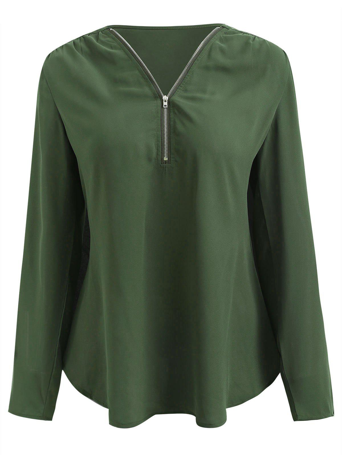 Half Zipper Long Sleeve Blouse - MEDIUM FOREST GREEN S