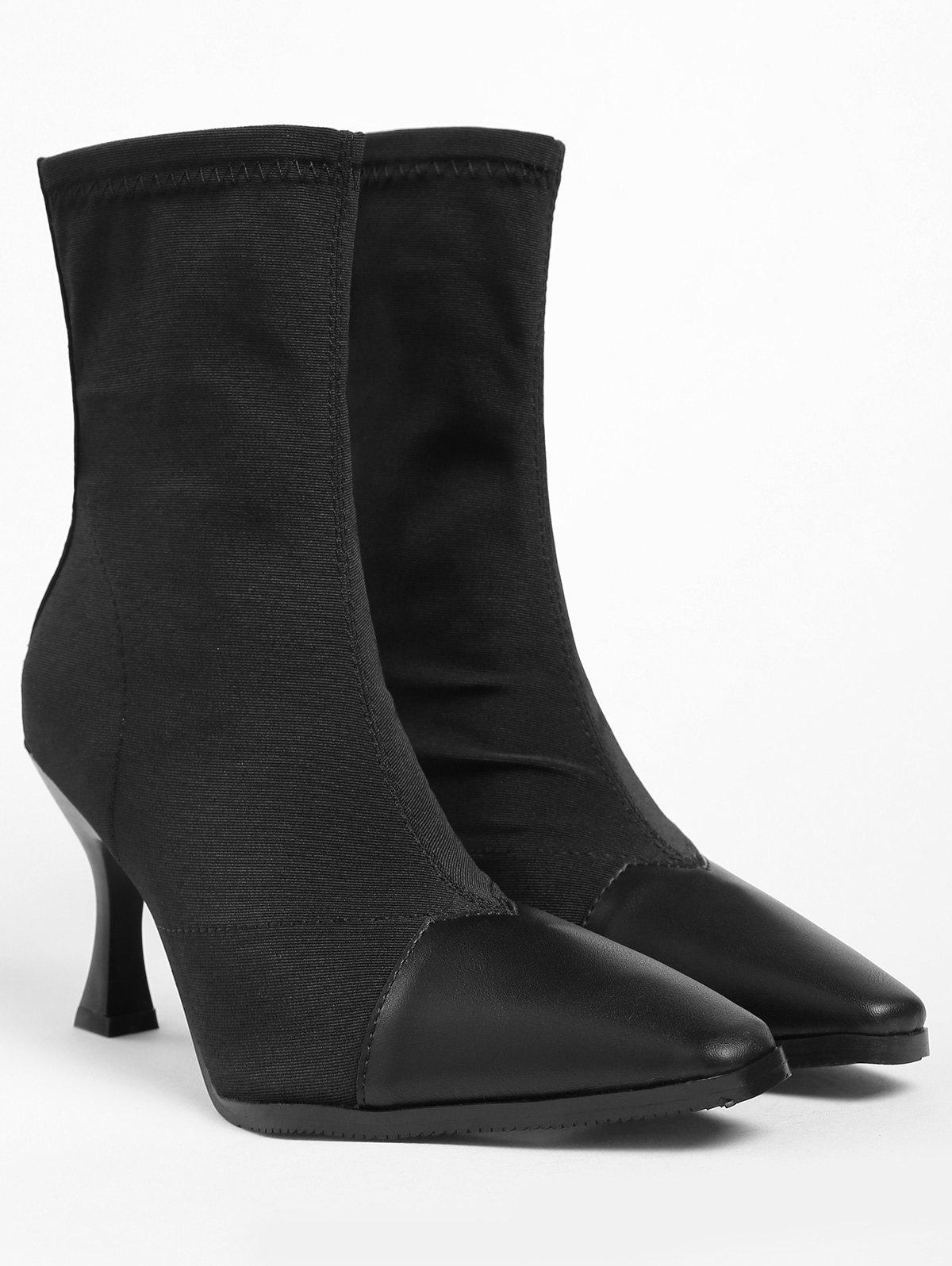 Pointed Toe Cap High Heel Ankle Boots - BLACK 37