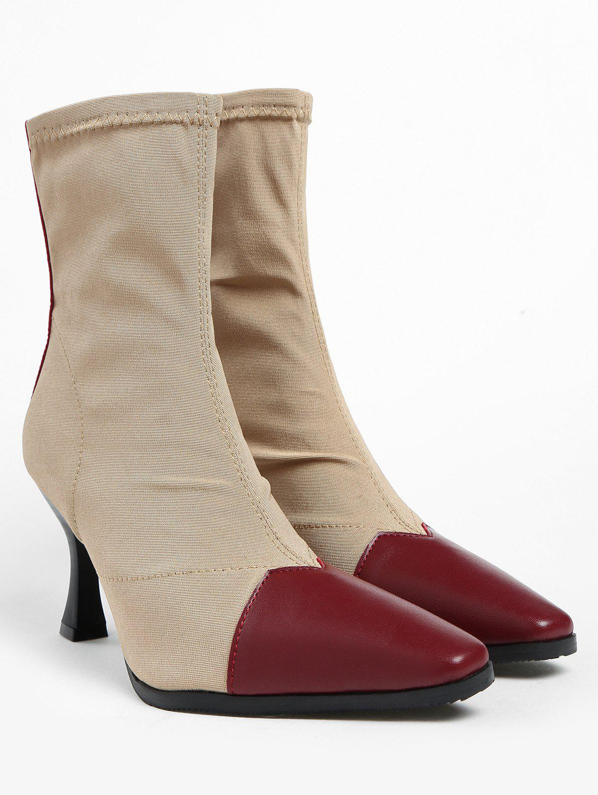 Pointed Toe Cap High Heel Ankle Boots - CHESTNUT RED 36