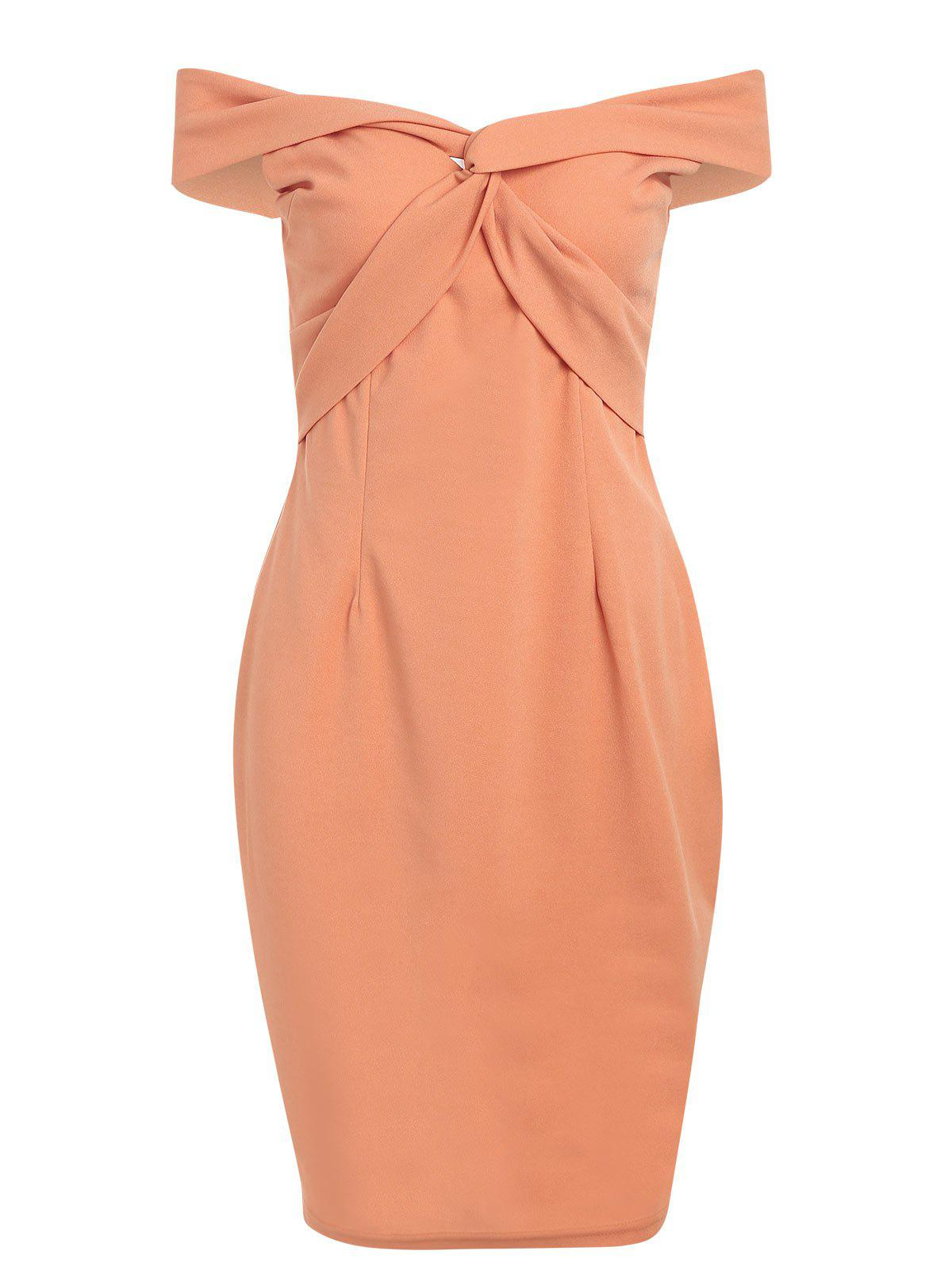 Off The Shoulder Twist Bodycon Dress - ORANGE 2XL