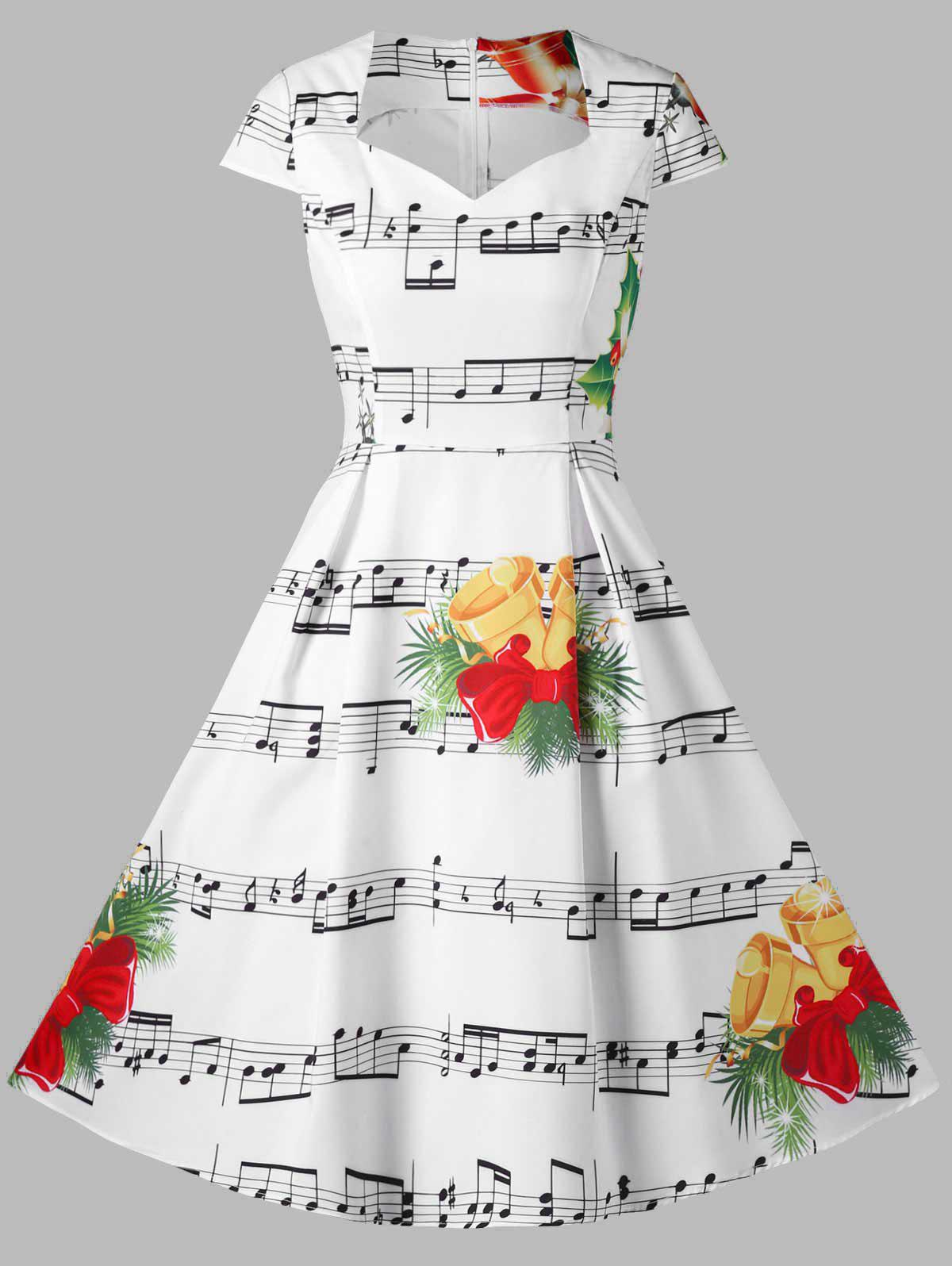 Christmas Bell and Music Note Print Dress 230009304
