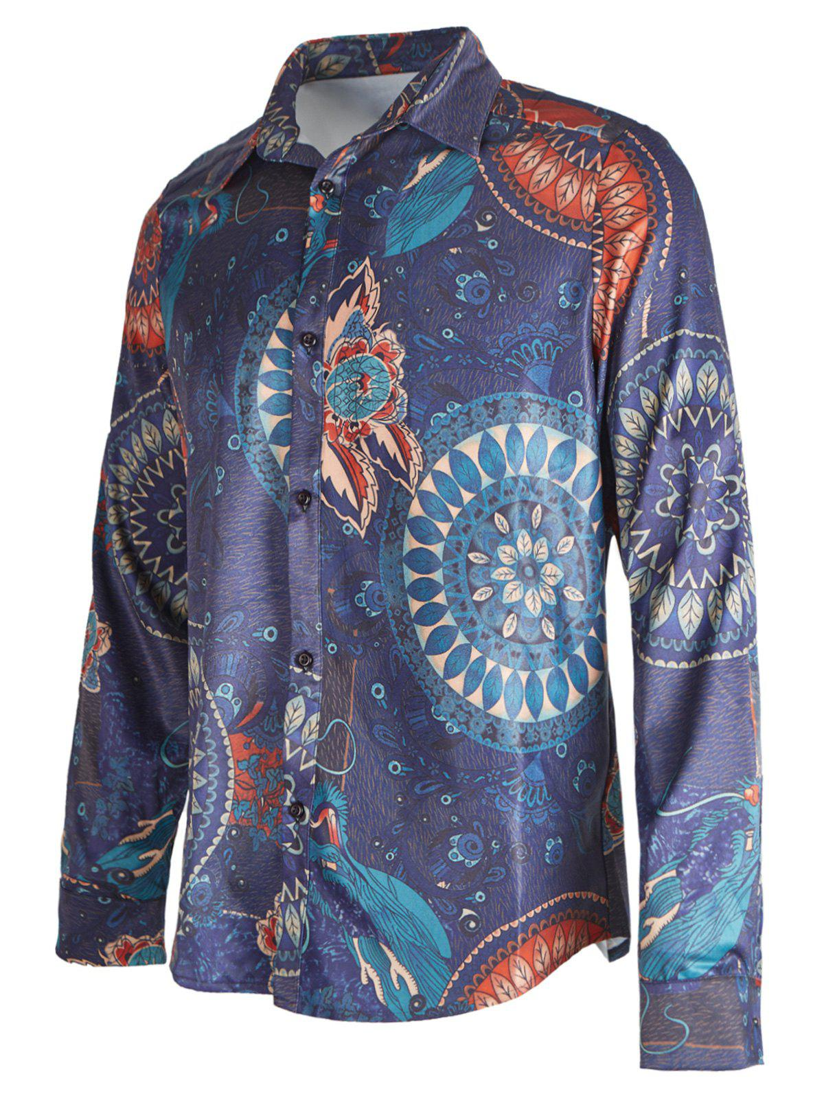Ethnic Floral Printed Long Sleeve Shirt - DEEP BLUE S