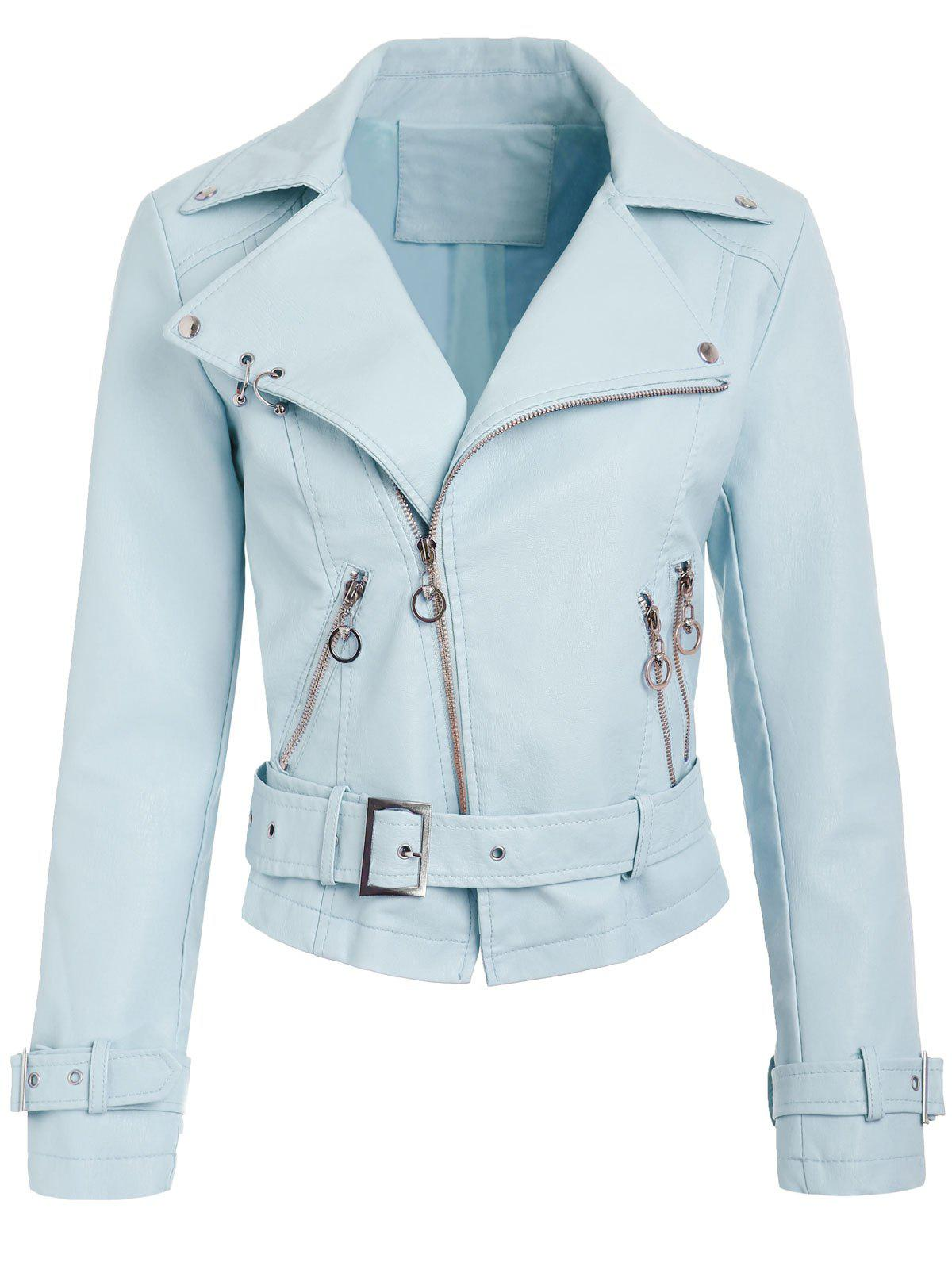Zip Up Faux Leather Belted Jacket - BABY BLUE L
