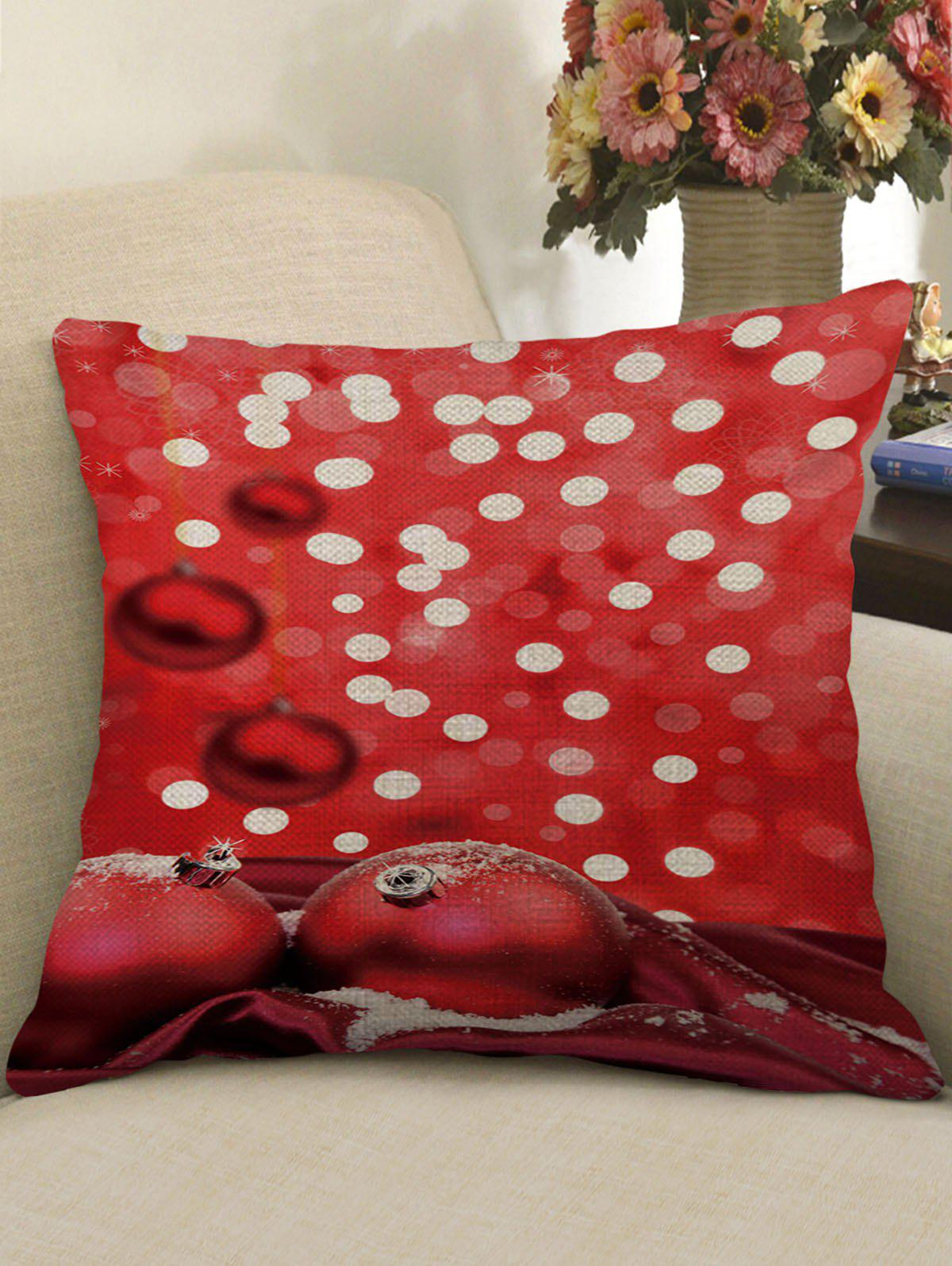 Christmas Theme Pattern Decorative Linen Pillow Sham - multicolor W18 X L18 INCH