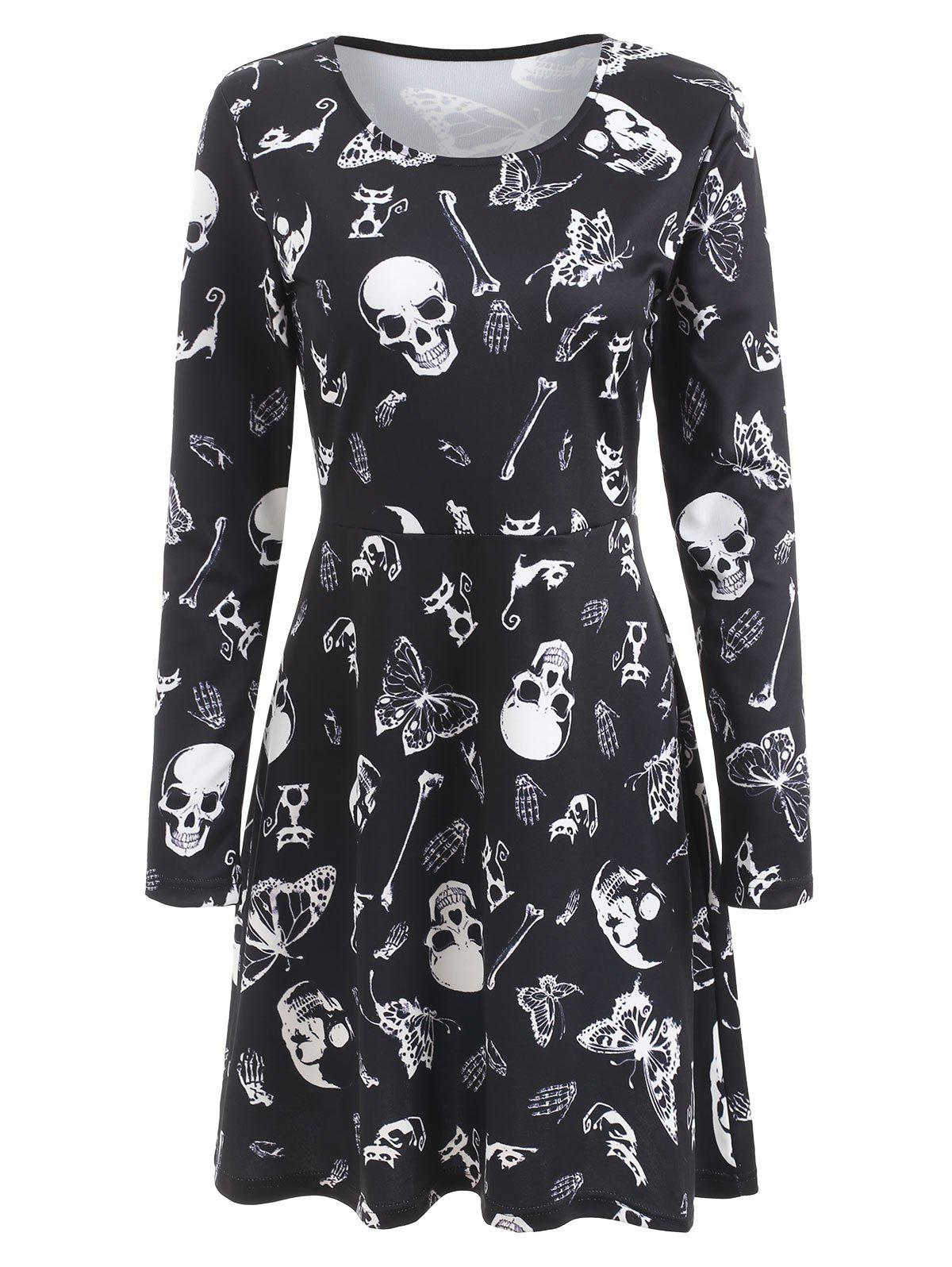 Halloween Skulls Butterflies Print High Waist Dress - BLACK S