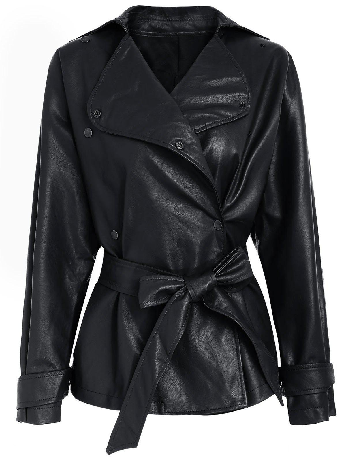 Faux Leather Belted Biker Jacket - BLACK L