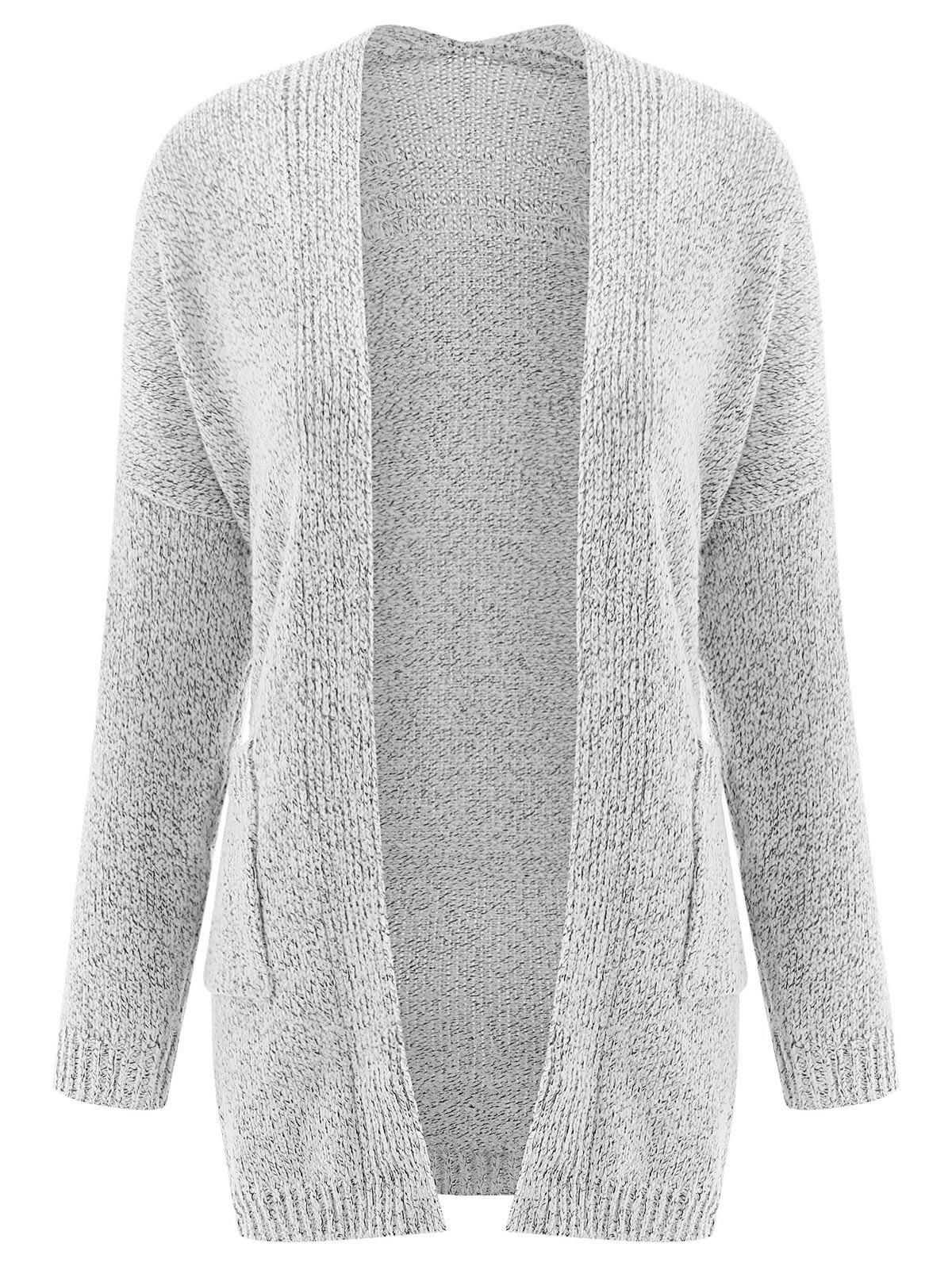 Stylish Gray Collarless Long Sleeve Pocket Design Cardigan For Women