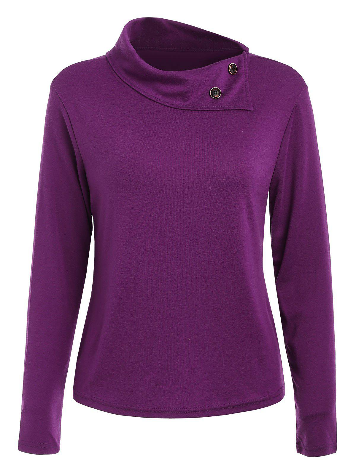 Simple Style Buttoned Cowl Neck Solid Color Long Sleeve T-Shirt For Women - PURPLE XL