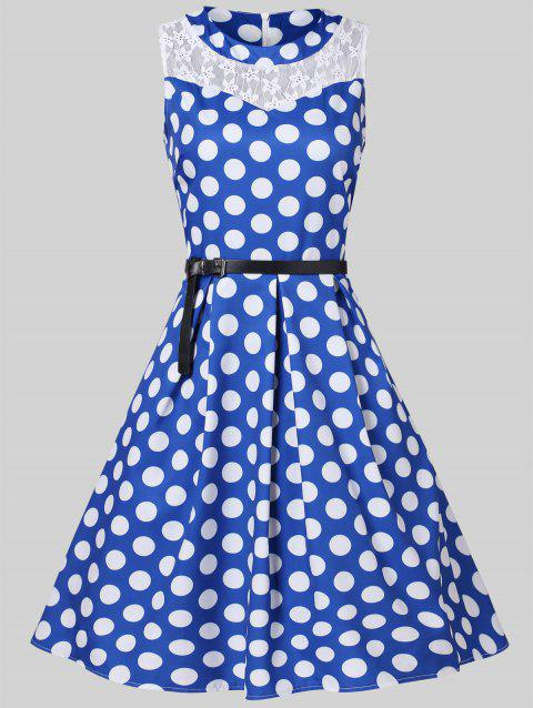 Lace Insert Dotted High Waist Pleated Dress - BLUEBERRY BLUE L