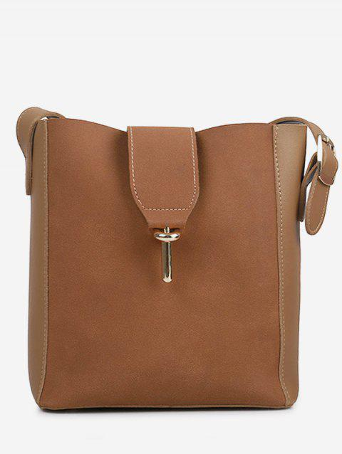 Panel 2 Pieces Crossbody Bag Set - BROWN