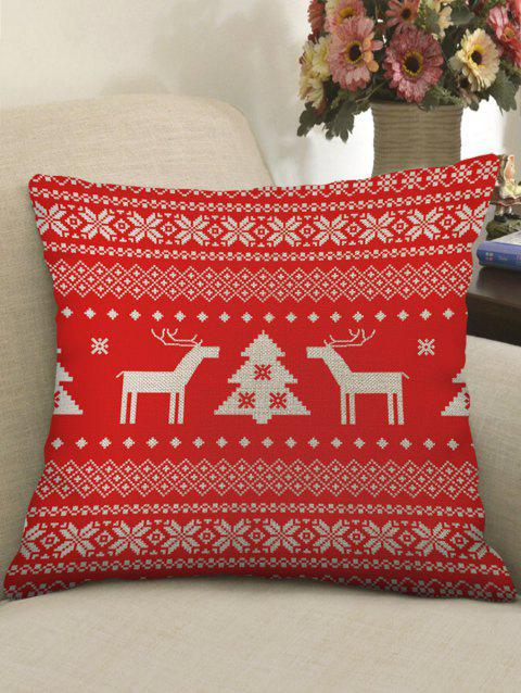 Christmas Themed Print Sofa Linen Pillowcase - RED W18 X L18 INCH